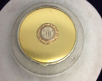 Vintage Initialed Mirrored Compact
