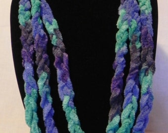 Teal and Blue Varigated Crochet Chain Scarf Necklace