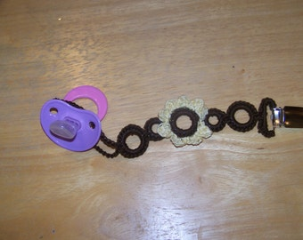 Brown With Yellow Flower Crochet Pacifier Clip New style and universal