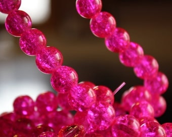 80 approx. neon pink 10 mm crackle glass beads, 1.5 mm hole, round