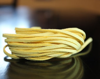 5 yds faux suede cord, yellow, about 3 mm wide, 15 ft, great for necklaces and wrap bracelets