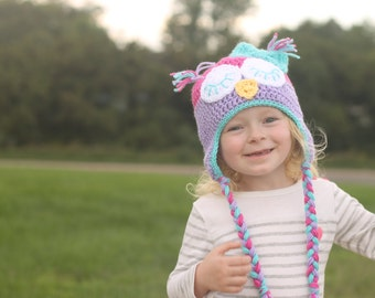 Owl hat - newborn photography prop - toddler hat - child hat - any size - owl - many colors available - sleepy owl