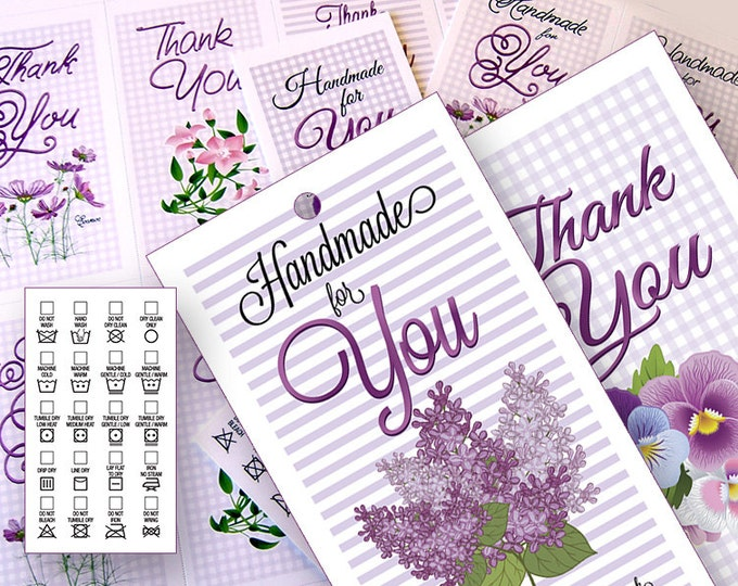 Springtime Laundry Tags • Washing and Care Instructions for Handmade Items • DIY Printable Clip Art • Thank You notes Included • 300 DPI