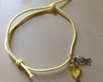 Yellow Sliding Knot Bracelet-Awareness-Cotton-bladder Cancer-Obesity-Support Troops-Liver Cancer-Sarcoma-Missing Children - Spina Biffida