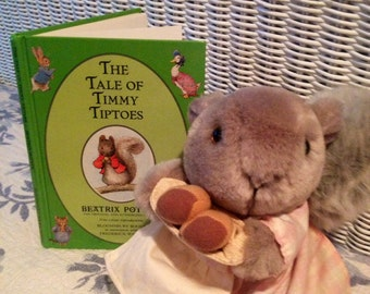 Adorable, Vintage, Beatrix Potter, Squirrel, And Cute Beatrix Potter Storybook, The Tale of Timmy Tiptoes