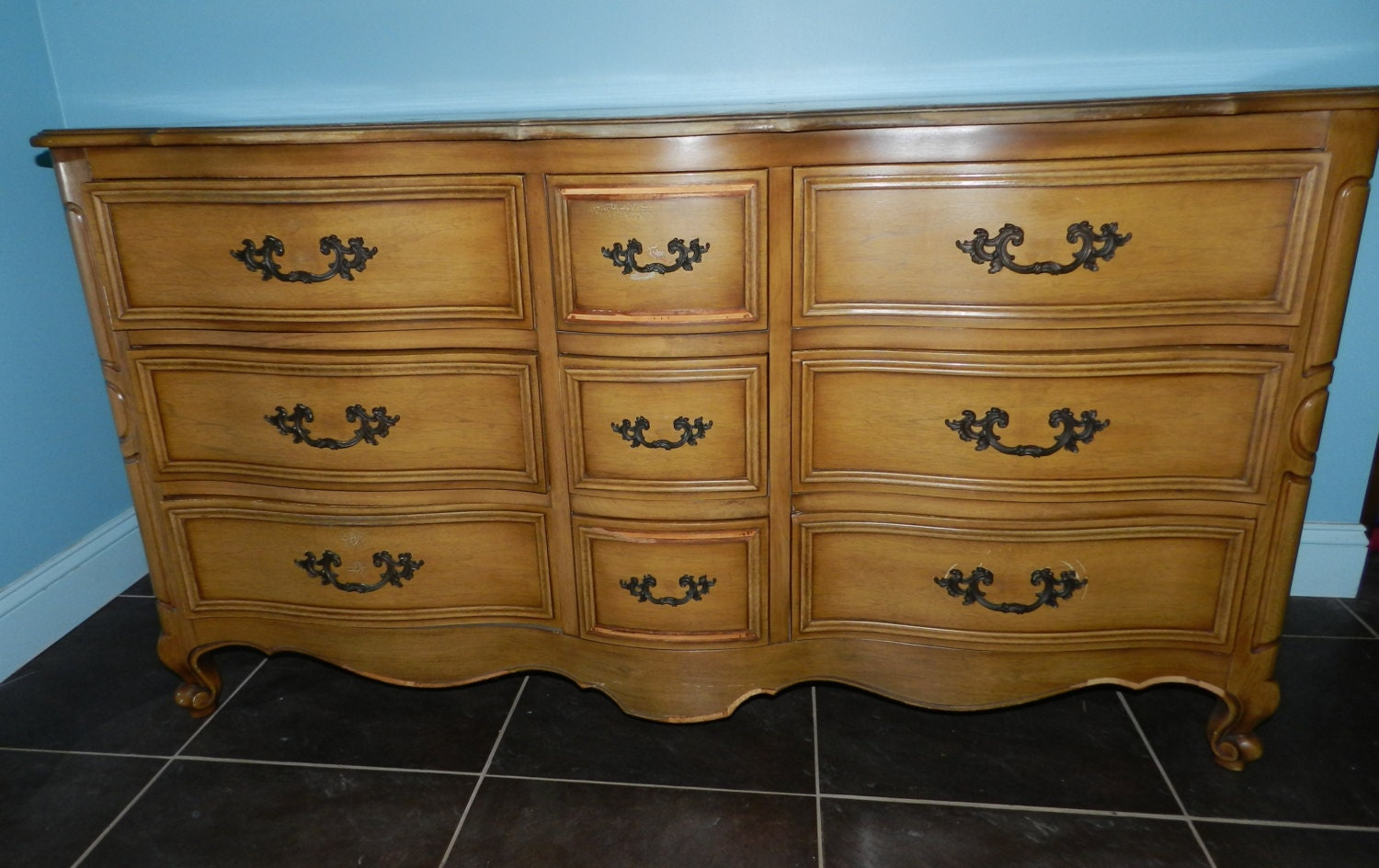 Vintage Long Dresser With Mirror By Drexel