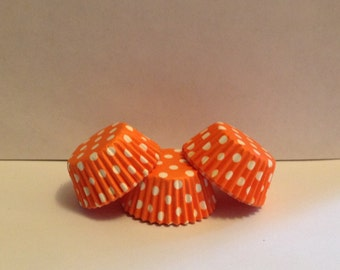 50 count - Greaseproof Orange with White Polka dots mini size cupcake liners/baking cups