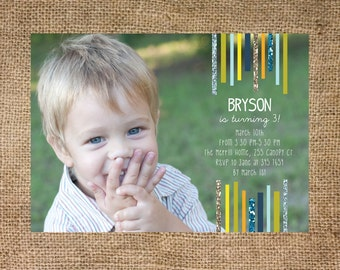 Birthday Invitation, photo card, stripes, personalized and printable, 5x7