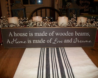 A House is made of wooden beams, a home is made of love and dreams sign