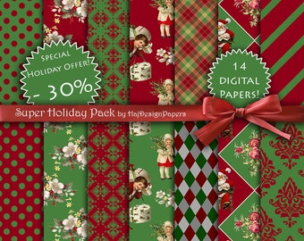 "Christmas digital paper - ""SUPER Holiday Pack"" , digital christmas papers in red and green with santa, argyle, plaid, polka dots and damask"