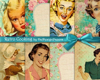 RETRO COOKING - Instant Download, Digital Collage Sheet, Cooking Cards, Decoupage Paper, Digital Paper, Scrapbook Paper, Vintage Paper