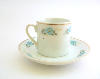 Demitasse Teacup, Teacup & Saucer, Teacup Set, Vintage Teacup, White and Blue Teacup, Floral Teacup, Vintage Teacup Set, Vintage Demitasse