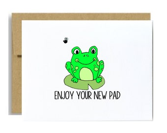 Housewarming card - new home enjoy your new pad frog green kraft