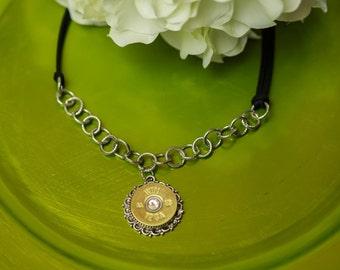 "Bullet Casing Jewelry - ""Hey Y'all"" Shotgun Bullet Necklace (12 Gauge)"
