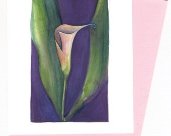 Calla Lilly  Note Card Original Watercolor Purple, Green Pink