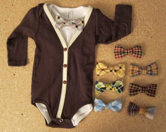 Baby Boy Brown/Ivory Cardigan Outfit with your choice of 1 removable Plaid Bow Tie