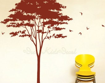 Tree wall decal with flying birds vinyl baby wall decal nursery tree decal wall stickers-DK115