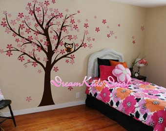 Owl and bird Cherry Blossom Tree wall decals nursery wall decals children girl baby wall decals wall sticker wall decor-DK134