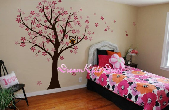 chouette et merisier fleur arbre mur stickers p pini re mur. Black Bedroom Furniture Sets. Home Design Ideas