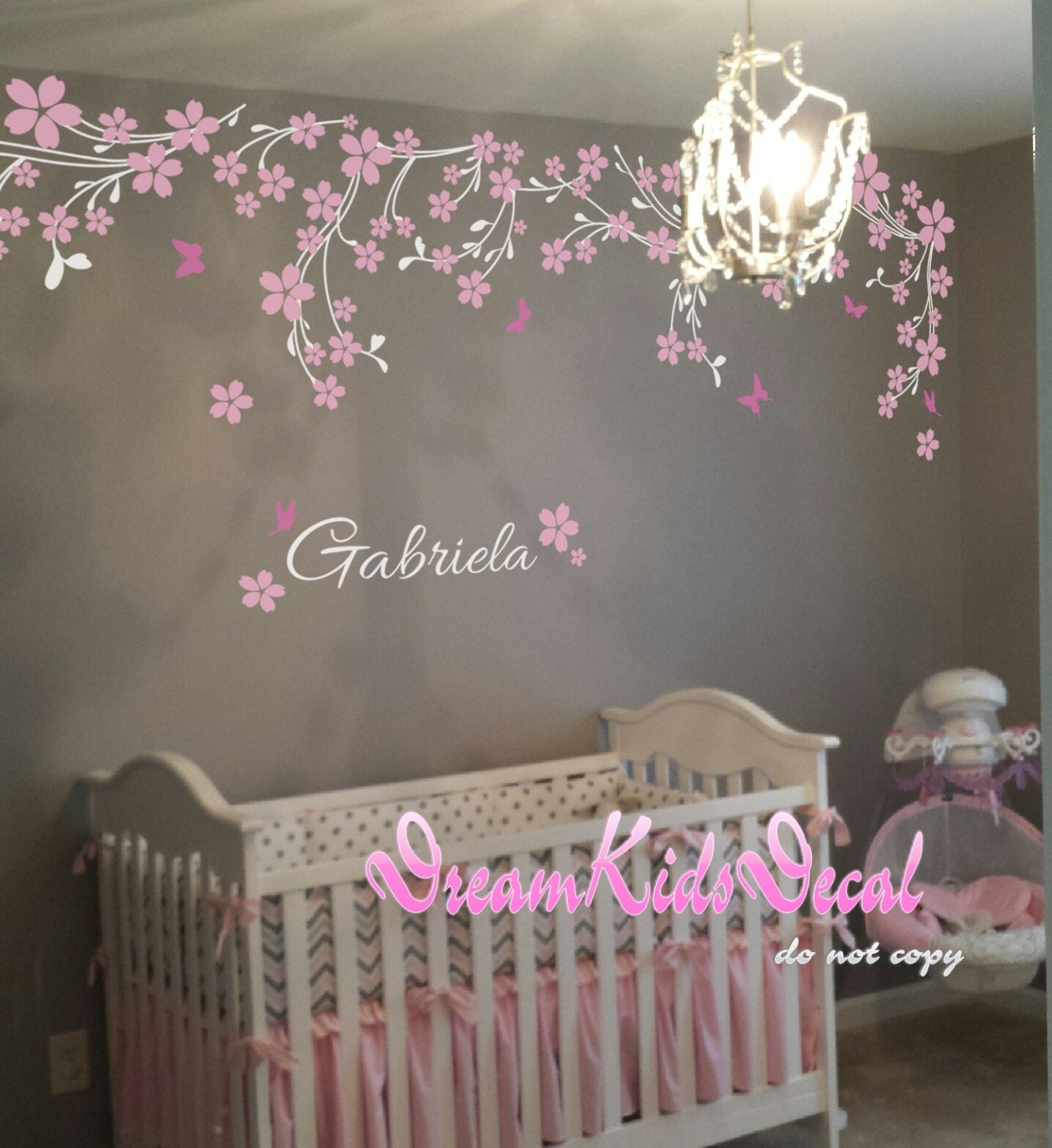 Name Wall Decals For Nursery Tags: Nursery Wall Decal Baby Girl And Name Wall Decals Cherry