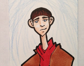 ACEO Original   Merlin from Merlin series Artist Sketch Card in Copics