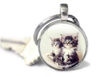 Cat Keyring, Kitten Key chain, Kitten Gifts, Cat Photo Keychain (Cat 9)