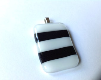 Black and White, Striped, Fused Glass, Pendant