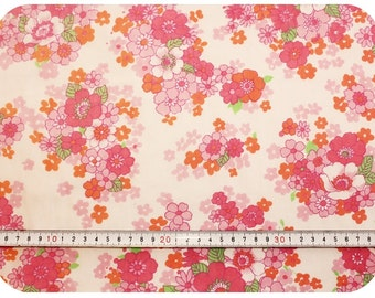 Floral retro vintage fabric - pink, orange, green and white