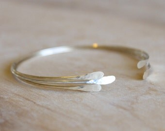 3 Open Bangles - Stacking Bangle Set - 14k Gold Fill or Sterling Silver - Gold Cuff - Minimalist - Textured Hammered Bangle - Adjustable