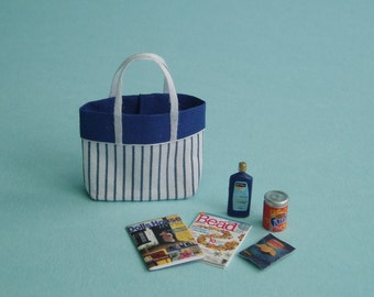 Beach Bag or Tote with Beach Accessories, Blue and White Stripes - 1:12 or 1/12 Scale Dollhouse Miniature for Beach, Vacation or Garden