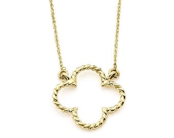 14K Solid Gold Clover Necklace, 14K Solid Gold, Clover Necklace, Clover, Clovers, Luck, Irish, Clover Design, Irish Jewelry, Four Leaf