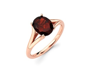 14K Rose Gold Garnet Ring, Rose Gold Ring, Garnet, Promise Ring, Fancy Ring, Fashion