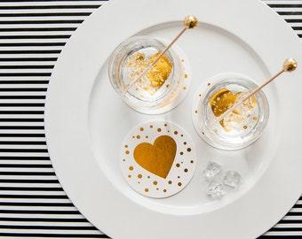 Confetti Heart GOLD Letterpress Coasters