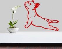 French Bulldog Dog Decal Yoga, Vinyl Sticker Decal - Good for Walls, Cars, Ipads, Mirrors Etc
