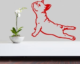 French Bulldog Dog Decal Yoga, Vinyl Sticker Decal - Good for Walls, Cars, Ipads, Mirrors, Psiakrew