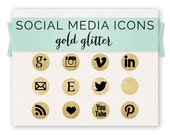 Social Media Icon Set, Gold Glitter Circles