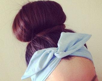 Baby Blue Dolly Bow Headband