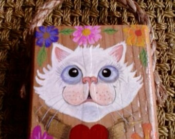 White cat and heart painting on recycled wood block