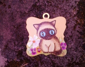 60s style siamese kitten miniature painting on wood