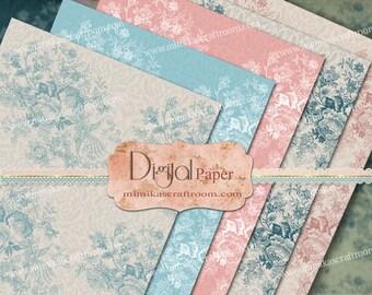 Shabby chic digital paper, digital Printable paper, pastel printable, paper printable gift wrap digital scrapbook paper Instant download