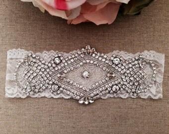Keepsake Garter - Wedding Garter - Lace Bridal Garter - Rhinestone Garter - Wedding Garter Belt - Vintage Garter