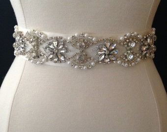 Bridal Sash - Wedding Dress Sash Belt - Rhinestone and Pearl Ivory Wedding Sash - Champagne Rhinestone Bridal Sash