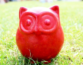 Shabby Red Owl Money Box