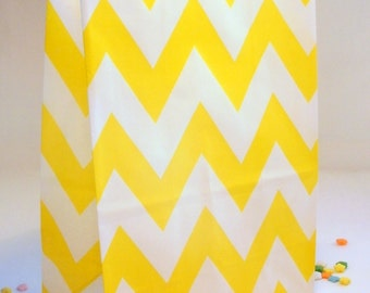 12 Yellow Chevron Standing Party Favor Bags - Treat Candy Baking Gifts Cookies