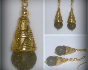 Black Volcano Lava Stone & Decorative Tribal Design Gold Tone Fancy Dangle Earrings - geology jewelry gift