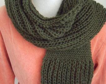 Dark olive green scarf (150/20 cm)