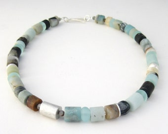 Black Amazonite and Silver Necklace