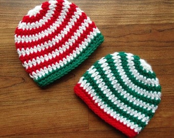 Crocheted Baby Twin Boys Christmas Hats, Bright Red & Kelly Green with White Stripes, Baby Shower Gift, Newborn to 24 Months, MADE TO ORDER