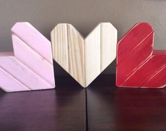 2x4 wooden heart Valentine's Day decor