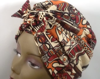 African cotton, fashion turban, hat, vintage style, designer, head covering, head wrap.Sizes Sm, Med, Large, Xl. Free shipping in USA.